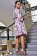 Красивое летнее женское платье 3363 персик с серыми лилиями, фото 2