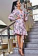 Красивое летнее женское платье 3363 персик с серыми лилиями, фото 3