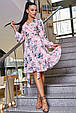 Красивое летнее женское платье 3363 персик с серыми лилиями, фото 4