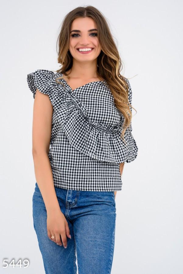 Черная асимметричная блузка    Код - 5449