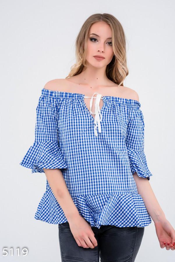 Ярко-синяя в мелкую клетку свободная блуза Код - 5119