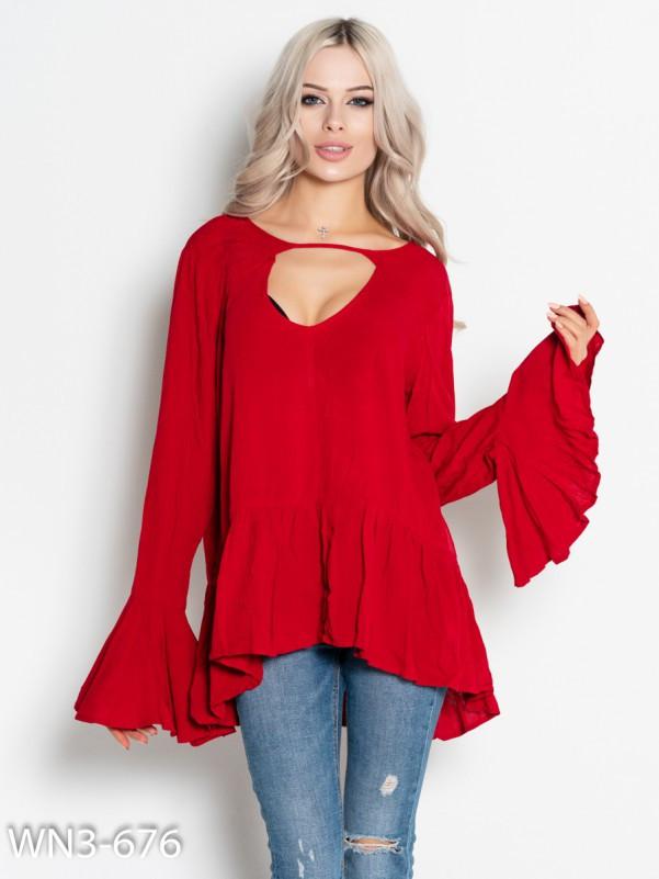 Красная асимметричная блуза с воланами  Код - WN3-676