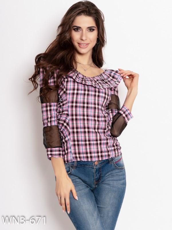 Розовая клетчатая коттоновая блуза   Код - WN3-671