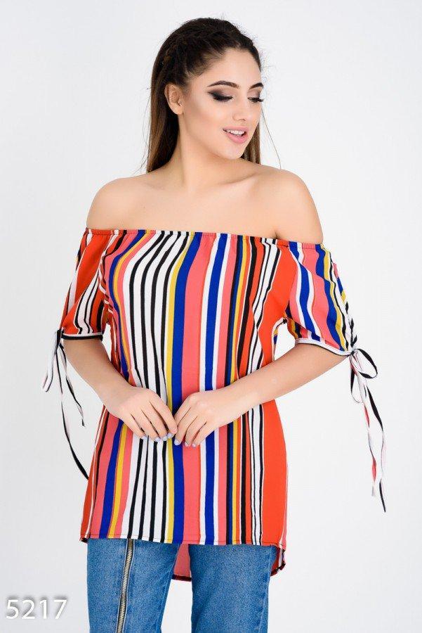 Цветная с белыми полосами блузка  Код - 5217