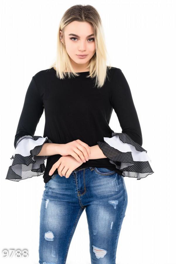 Черная блуза с рукавами-воланами   Код - 9788