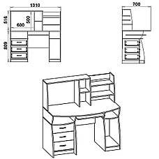 Стіл комп'ютерний з надбудовою Комфорт-3, фото 2