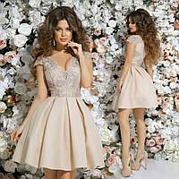 cd5c09a0cff Нарядное летнее платье короткий рукав гипюр+габардин+ фатиновый подъюбник  Размер 42