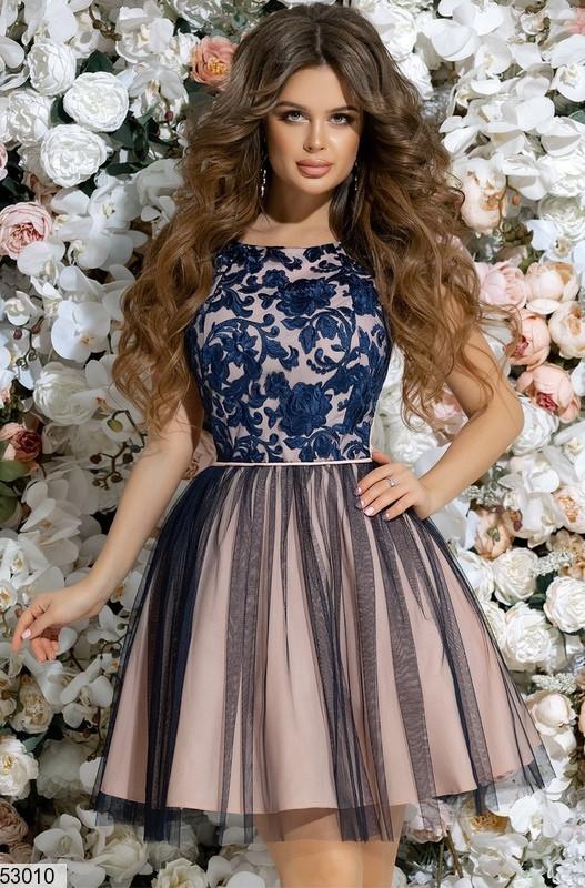 f46b02c1ae0 Нарядное платье короткое юбка солнце клеш без рукав гипюр сетка синее -