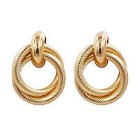 Модные украшения женские круглые серьги в форме колец вечерние золотой цвет сережки / Распродажа!!!, фото 1