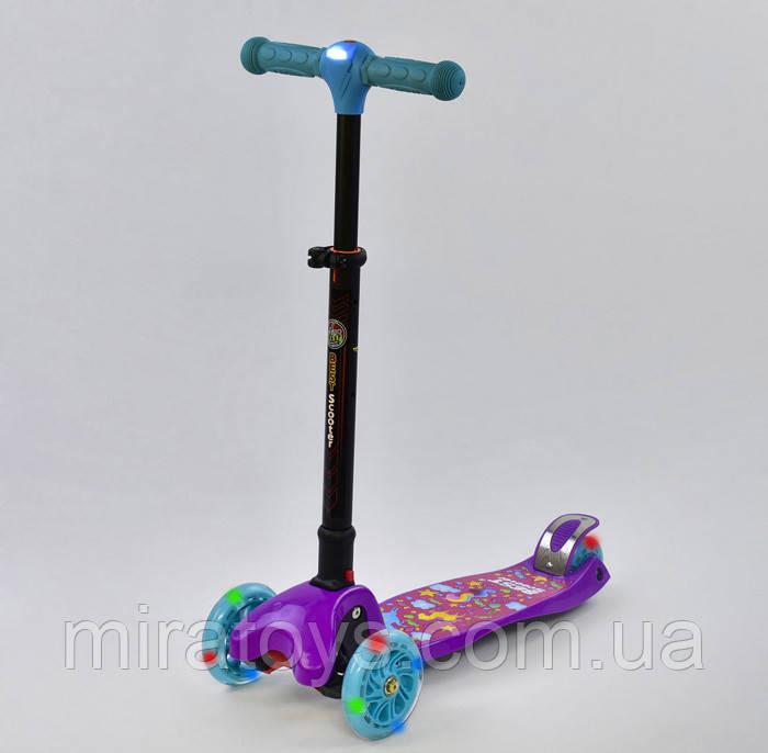 Самокат 44500 Best Scooter складаний кермо З ФАРОЮ, 4 колеса PU зі світлом, d=12 см