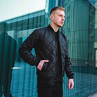 Бомбер курточка стеганная ромбиком утепленная весенняя/осенняя мужская, цвет черный