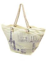 Сумка пляжная текстиль Модерн. Большая женская тканевая сумка на пляж