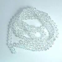Бусины хрустальные (Рондель), 8×6 мм, Цвет: белый с переливом, прозрачные (35 шт.)