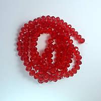 Бусины хрустальные (Рондель), 8×6 мм, Цвет: красный, прозрачные (35 шт.)