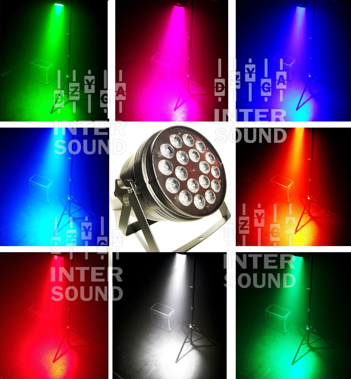 Прожектор Led par 18x10 RGBW 4в1 для светомузыки, дискотеки, клуба Dzyga