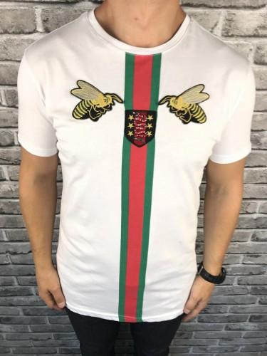 Трендовая Мужская Футболка Gucci белая Качество 100% Хлопок Новинка 2019 года Гуччи реплика