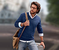 Пуловер мужской хлопковый с V-образным вырезом Tchibo Германия  60/62(UKR)