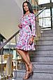 Красивое летнее женское платье 3358 белый с розовыми цветами, фото 2