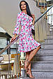 Красивое летнее женское платье 3358 белый с розовыми цветами, фото 3
