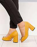 Элитные горчичные замшевые женские туфли из итальянского велюра, фото 7