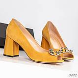 Элитные горчичные замшевые женские туфли из итальянского велюра, фото 8