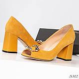 Элитные горчичные замшевые женские туфли из итальянского велюра, фото 2