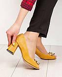 Элитные горчичные замшевые женские туфли из итальянского велюра, фото 9
