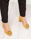 Элитные горчичные замшевые женские туфли из итальянского велюра, фото 10