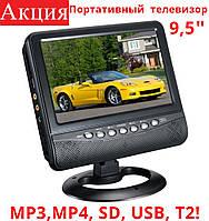 """Автомобильный портативный телевизор 9,5"""" Opera OP-902 T2 TV USB + SD + Т2 с аккумулятором!, фото 1"""