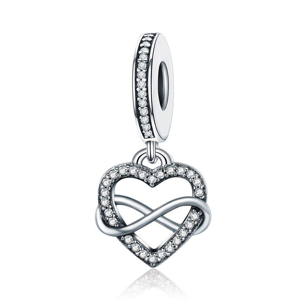 """Шарм Pandora Style (стиль Пандора) """"Сердце с символом бесконечности"""" (подвеска)"""