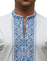 Чоловіча вишита футболка з синім орнаментом