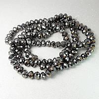 Бусины хрустальные (Рондель), 8×6 мм, Цвет: тёмно-серебристый металлик, (35 шт.)
