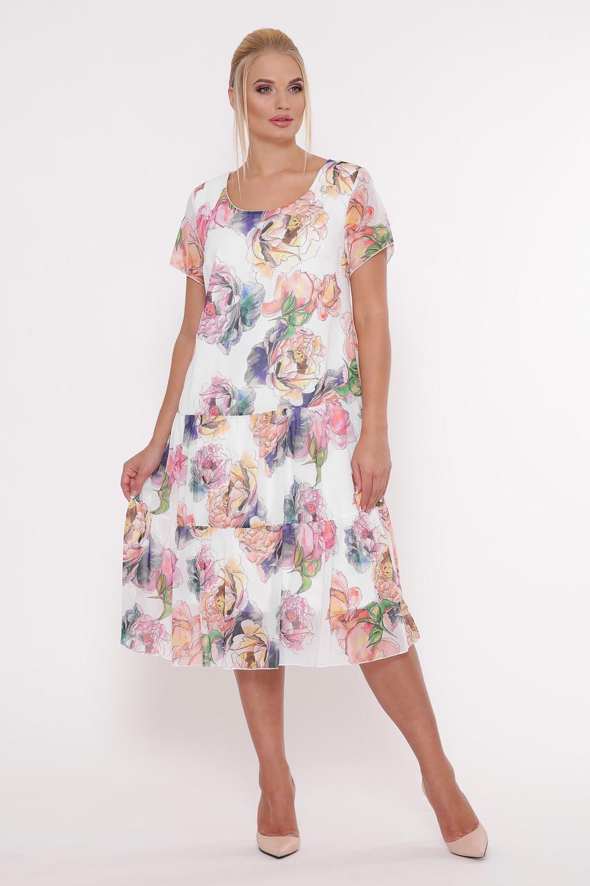 af344effcd4b7f3 Летнее женское платье Катаисс белое Пион (54-58) - Fashop Женская одежда от