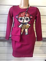 """Детское платье """"Лол"""" с пайетками для девочек от 3 до 7 лет,малиновое в мелкий горошек с сумочкой"""