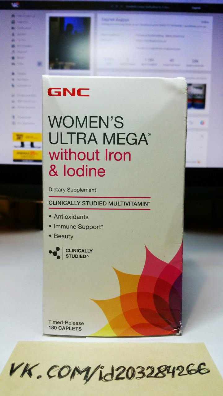 GNC Women's Ultra Mega Without Iron & Iodine 180 капсул