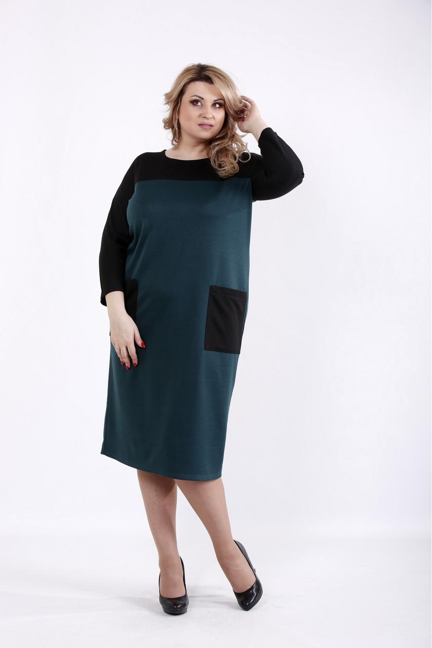 Зеленое с черным платье повседневное большого размера 42-74. 01053-3