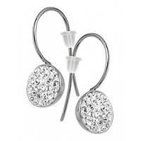 Серьги женские с белыми кристаллами Swarovski 10 мм 102891