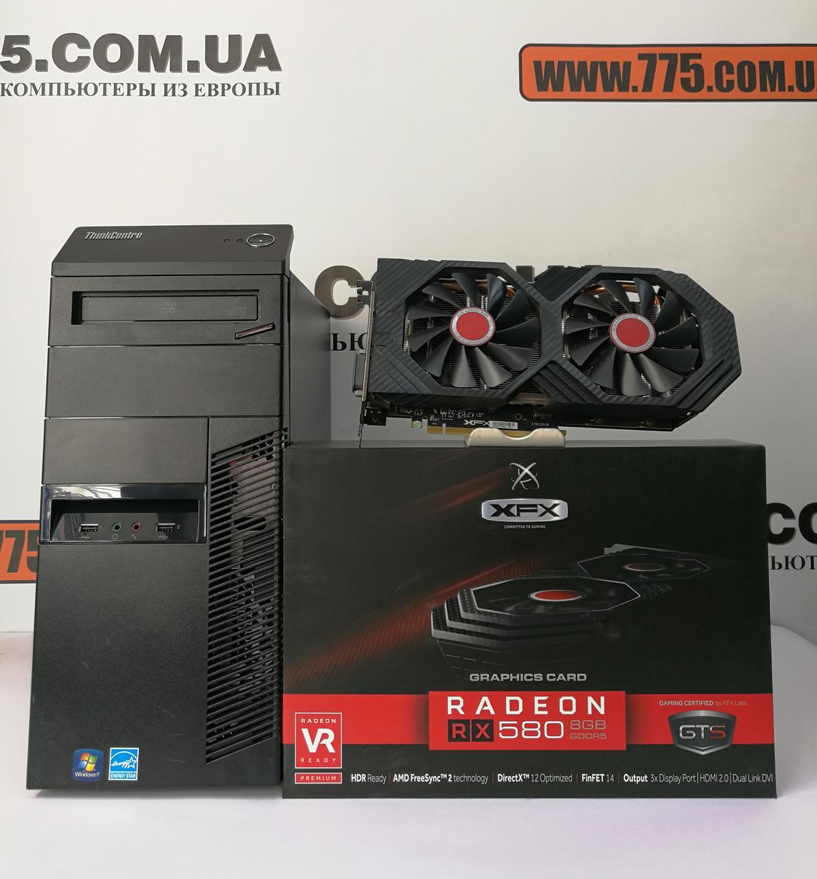 Игровой компьютер, Intel Core i7-3770 3.9GHz, RAM 8ГБ, SSD 120ГБ + HDD 500ГБ, RX 580 8ГБ, гарантия 6 мес!