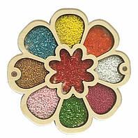Деревянный органайзер для бисера с крышкой Shasheltoys Цветочек 9 ячеек диаметр 15 см (060101)