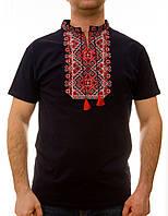 Чоловіча вишита футболка з червоною вишивкою