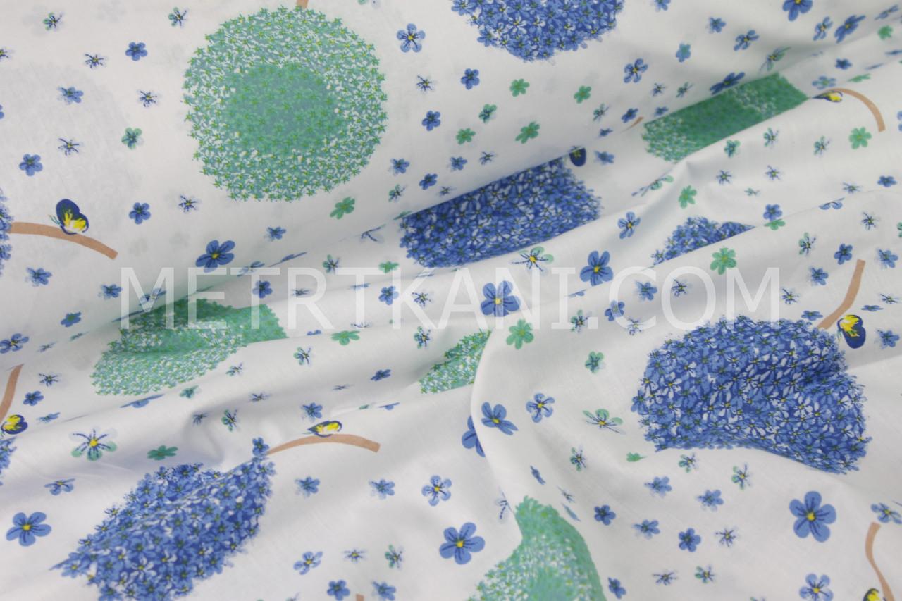 Бязь,100% хлопок  одуванчики голубого цвета на белом фоне №581