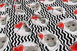 """Отрез ткани """"Серые котики с красным шариком-сердечком"""" на чёрном зигзаге, №1538а, фото 5"""