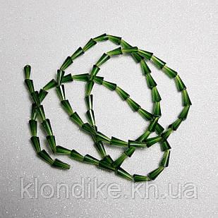 Бусины хрустальные (Капля) 4х8ммнить - 70-72 шт, цвет - Зеленый