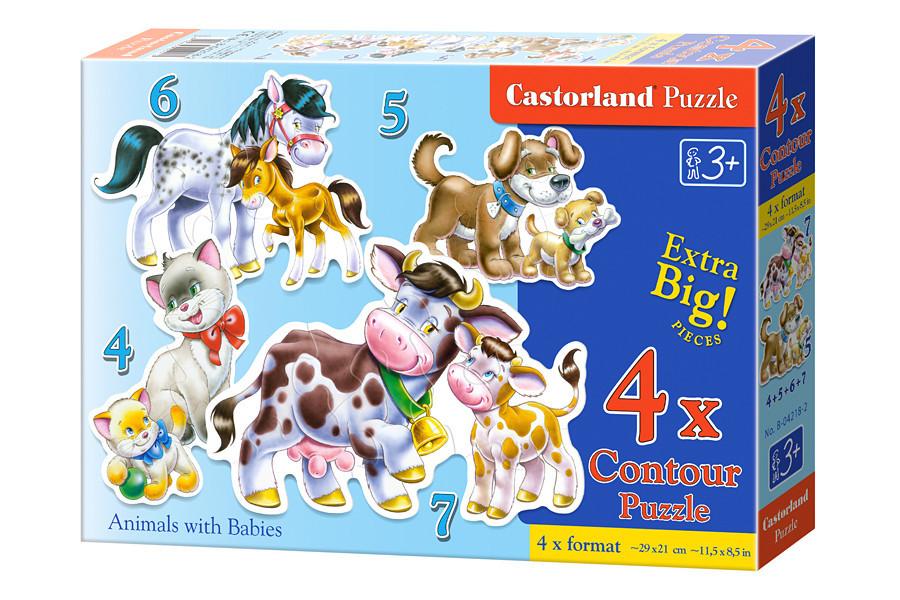 Детские пазлы для малышей 4 в 1 Животные.