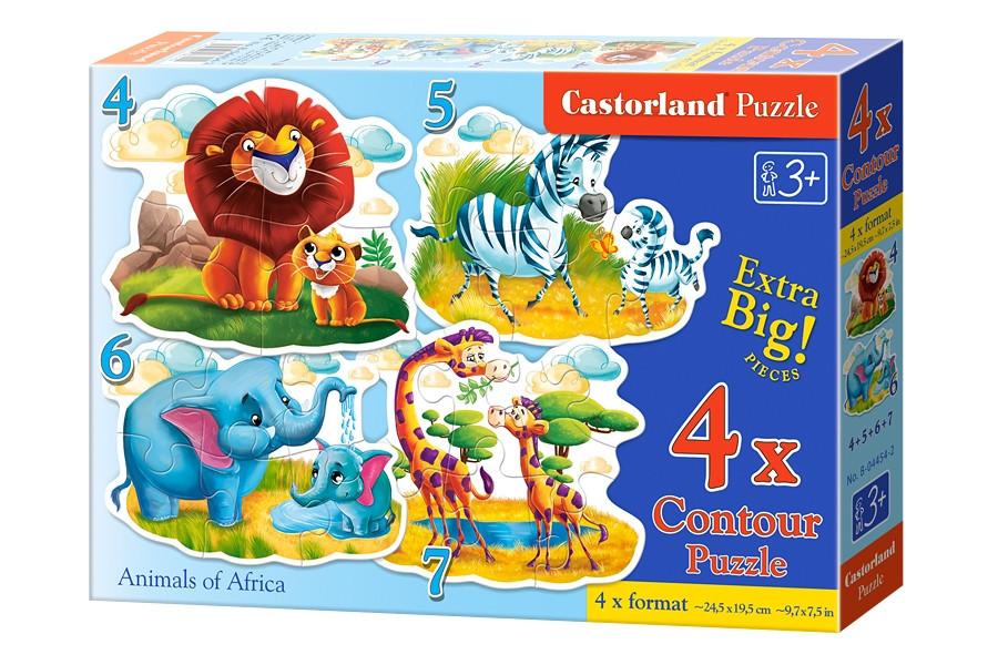 Детские пазлы для малышей 4 в 1 Африканские животные.
