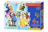 Детские пазлы для малышей 4 в 1 Принцессы.