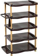"""Полка для обуви """"Senyayla"""" на 10 пар+аксессуары+коробка 80*47*33 см (коричневая с бежевым)"""