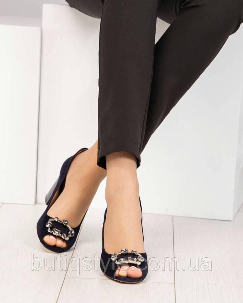 395b2214a62 Женские темно-синие туфли на каблуке с открытым носочком натуральный велюр  ...