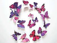 3D бабочки для декора фиолетовые, фото 1