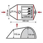 Намет Tramp Grot 3 м, v2 TRT-036. Палатка туристическая 3 месная. Намет туристичний, фото 4